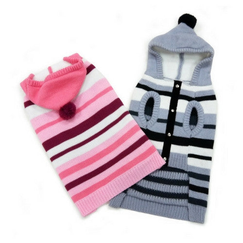 Dogo Pet Fashions Uneven striped Hooded Dog Sweater Both Colors