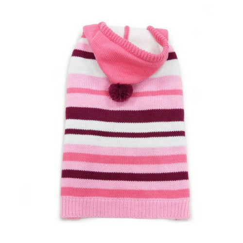 Dogo Pet Fashions Uneven striped Hooded Dog Sweater Pink