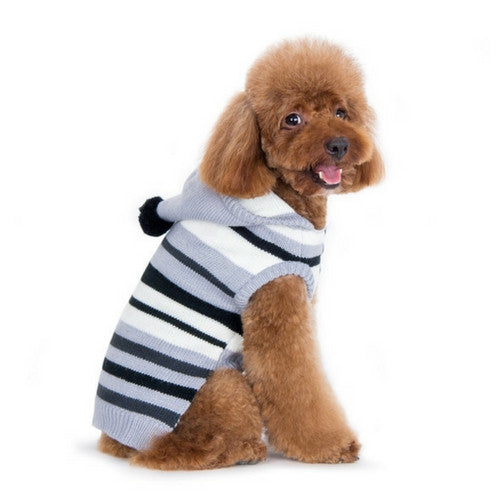 Dogo Pet Fashions Uneven striped Hooded Dog Sweater Black on Dog Side View