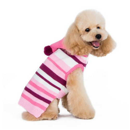 Dogo Pet Fashions Uneven striped Hooded Dog Sweater Pink on Dog Side View