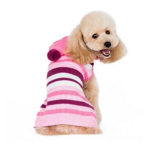 Dogo Pet Fashions Uneven striped Hooded Dog Sweater Pink on Dog Back View