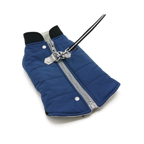 Dogo Pet Fashions Blue Insulated Urban Runner Winter Dog Coat with Leash