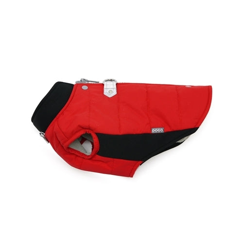 Dogo Pet Fashions Red Insulated Urban Runner Winter Dog Coat Side View