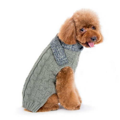 Dogo Pet Fashions Urban Cable Scarf Dog Sweater Gray on Dog Side View