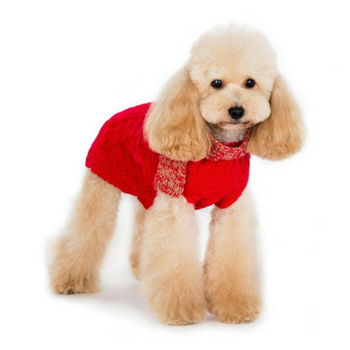 Dogo Pet Fashions Urban Cable Scarf Dog Sweater Red on Dog Front View