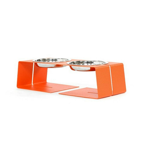 Doca Pet Steel Dogleg Diner Elevated Feeder Dog Stainless Steel Bowls Orange Small One Cup