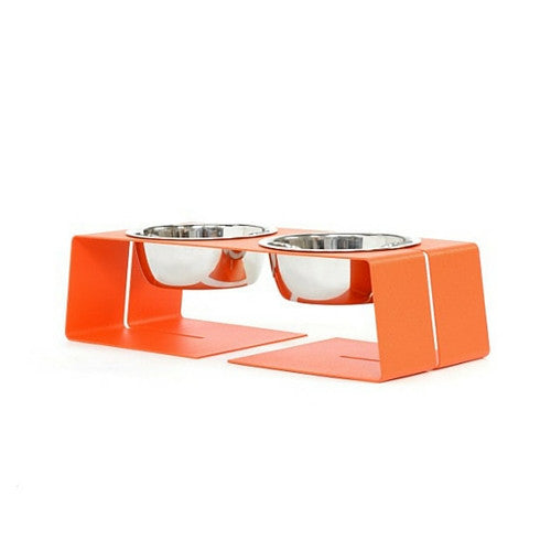 Doca Pet Steel Dogleg Diner Elevated Feeder Dog Stainless Steel Bowls Small Orange Three Cup