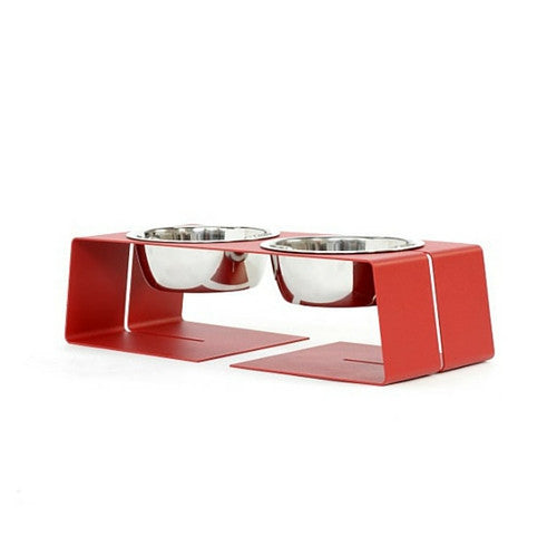 Doca Pet Steel Dogleg Diner Elevated Feeder Dog Stainless Steel Bowls Red Small Three Cup