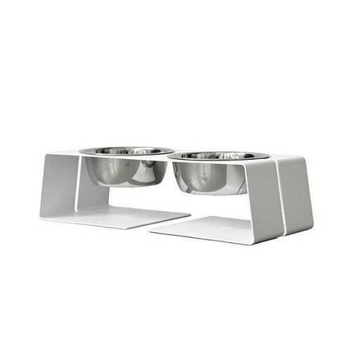 Doca Pet Steel Dogleg Diner Elevated Feeder Dog Stainless Steel Bowls White Small Three Cup