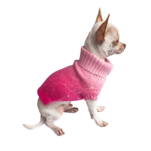 The Dog Squad Fuchsia Sparkle Angora Blend Turtleneck Dog Sweater