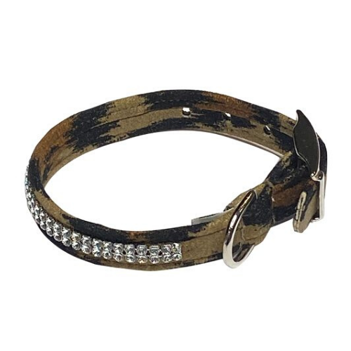 The Dog Squad Glamour Girl Swarovski Crystal Dog Collar — Leopard