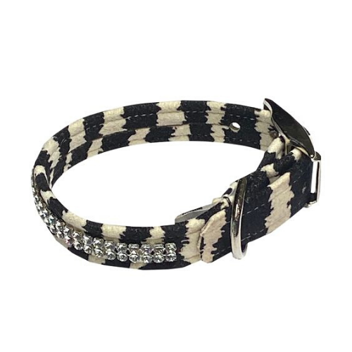 The Dog Squad Glamour Girl Swarovski Crystal Dog Collar — Zebra