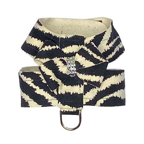 The Dog Squad Hollywood Bow Swarovski Crystal Dog Harness — Zebra