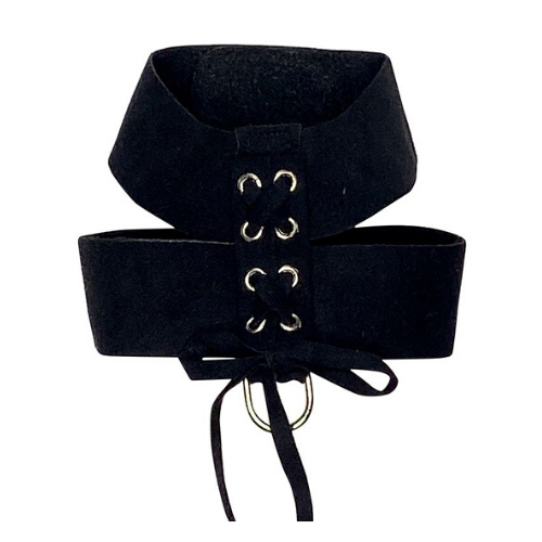 The Dog Squad Parisian Corset Ultrasuede Velcro Dog Harness — Black