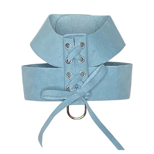 The Dog Squad Parisian Corset Ultrasuede Velcro Dog Harness — Horizon Blue