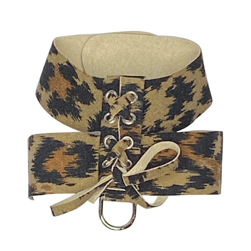 The Dog Squad Parisian Corset Ultrasuede Velcro Dog Harness — Leopard
