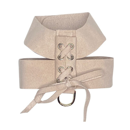 The Dog Squad Parisian Corset Ultrasuede Velcro Dog Harness — Light Rose