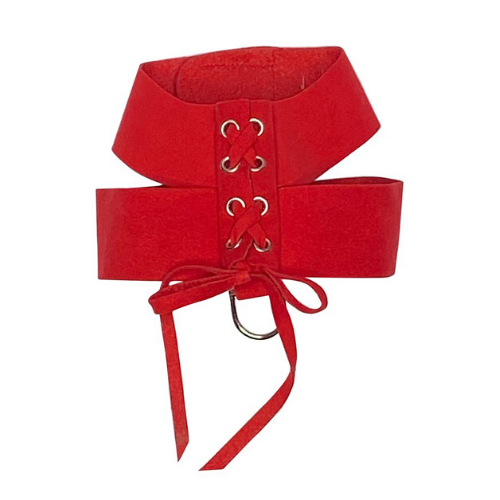The Dog Squad Parisian Corset Ultrasuede Velcro Dog Harness — Red