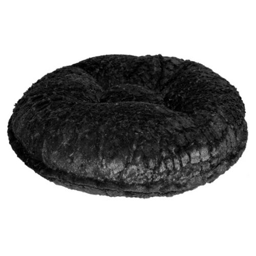 Doggy Wrappers Black Crocodile Mink Round Nesting Dog Bed