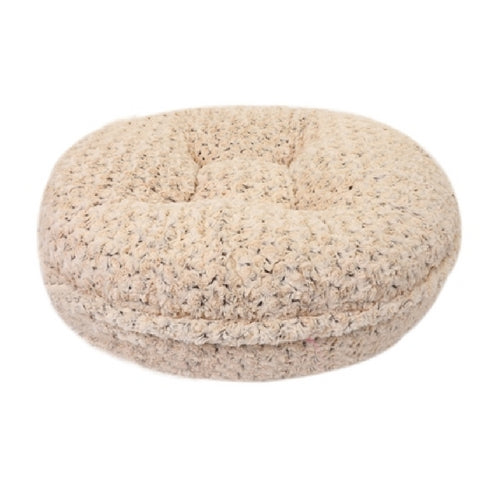 Doggy Wrappers Chocolate and Beige Rosebud Round Nesting Dog Bed