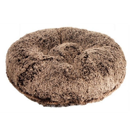 Doggy Wrappers Chocolate Frosted Shag Round Nesting Dog Bed