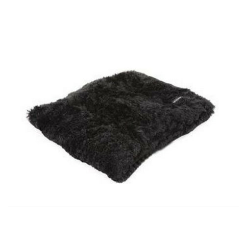 Doggy Wrappers Baylee Nasco Square Pillow Dog Bed — Black Shag