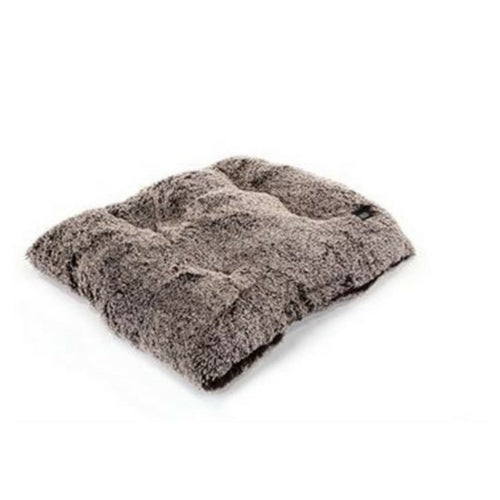 Doggy Wrappers Baylee Nasco Square Pillow Dog Bed — Frosted Chocolate Shag