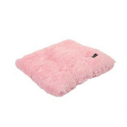 Doggy Wrappers Baylee Nasco Square Pillow Dog Bed — Light Pink Shag