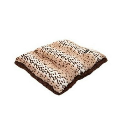 Doggy Wrappers Baylee Nasco Square Pillow Dog Bed — Snow Leopard + Chocolate Shag