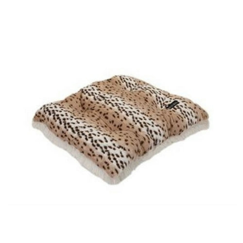 Doggy Wrappers Baylee Nasco Square Pillow Dog Bed — Snow Leopard + Cream Shag