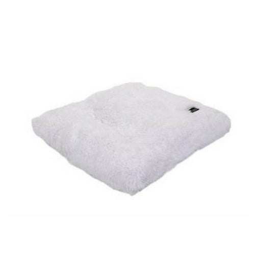 Doggy Wrappers Baylee Nasco Square Pillow Dog Bed — White Shag