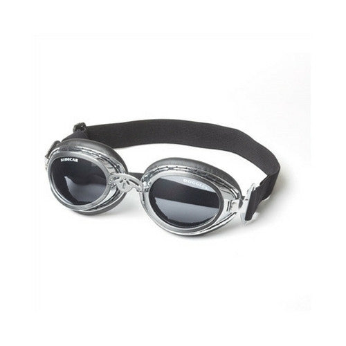 Doggles Sidecar Protective Dog Eyewear Goggles Silver Frame Smoke Lens
