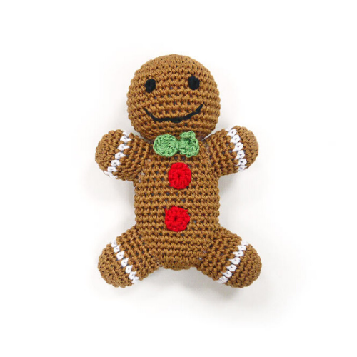 Dogo Cotton Gingerbread Man Squeaky Holiday Dog Toy