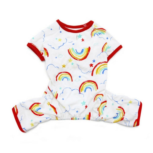 Dogo Pet Fashions Rainbow PJ Four-Leg Dog Pajamas Back View