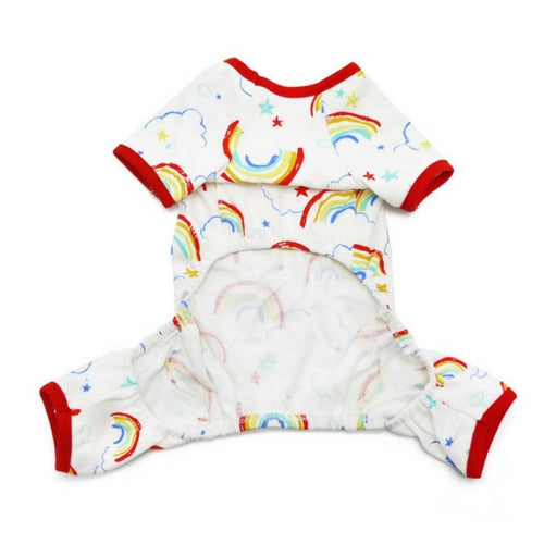 Dogo Pet Fashions Rainbow PJ Four-Leg Dog Pajamas Front View