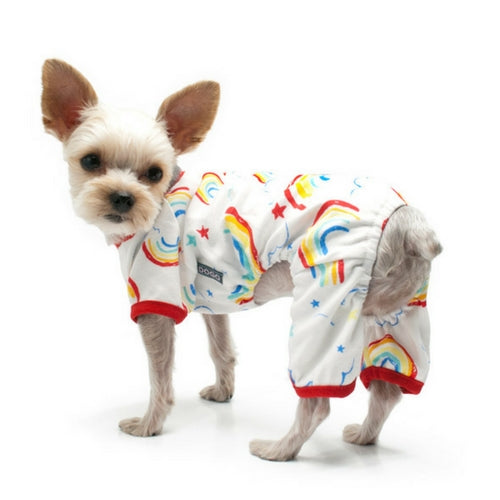 Dogo Pet Fashions Rainbow PJ Four-Leg Dog Pajamas on Dog