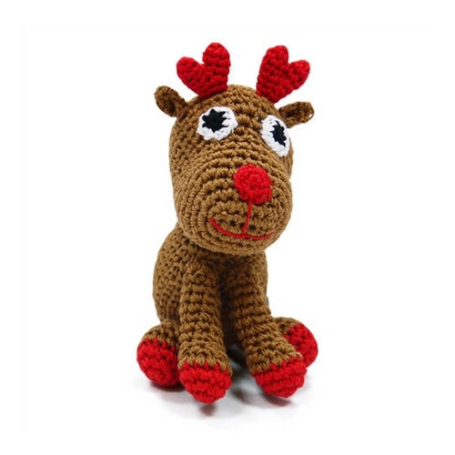 Dogo Cotton Reindeer Squeaky Holiday Dog Toy