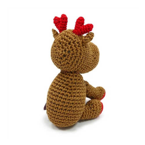 Dogo Cotton Reindeer Squeaky Holiday Dog Toy Back View