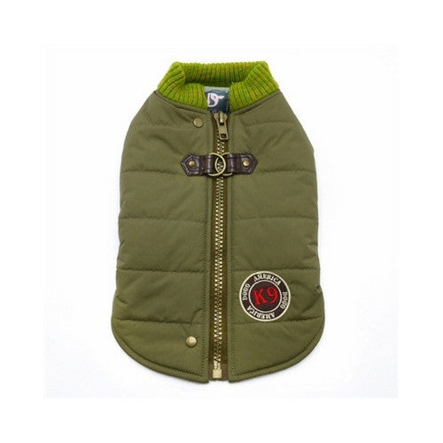 Dogo Pet Fashions Army Green Athletic Runner Winter Dog Coat  Back View