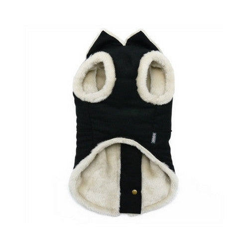 Dogo Pet Fashions Furry Black Vintage Athletic Runner Winter Dog Coat Front View