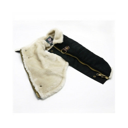 Dogo Pet Fashions Furry Black Vintage Athletic Runner Winter Dog Coat Closure View