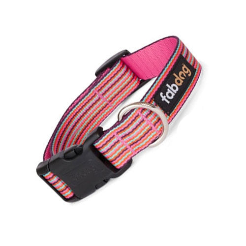 Fab Dog Stylish Eco-Friendly Woven Nylon Thin Striped Dog Collar — Pink