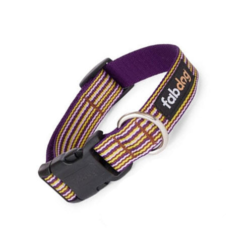 Fab Dog Stylish Eco-Friendly Woven Nylon Thin Striped Dog Collar — Purple