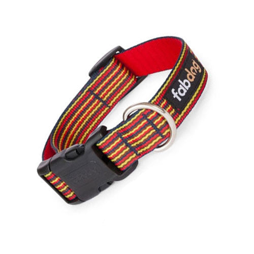 Fab Dog Stylish Eco-Friendly Woven Nylon Thin Striped Dog Collar — Red