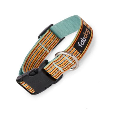 Fab Dog Stylish Eco-Friendly Woven Nylon Thin Striped Dog Collar — Sky