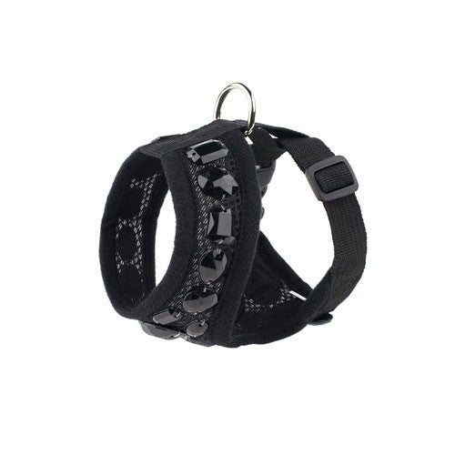 FabuLeash Black Boo Jewel Small Dog Soft Mesh Harness Side View