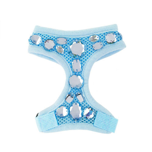 FabuLeash Blue Boo Jewel Small Dog Soft Mesh Harness Front View