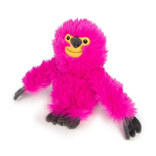 GoDog Fuzzy Pink Sloth Plush Chew Guard Durable Dog Toy
