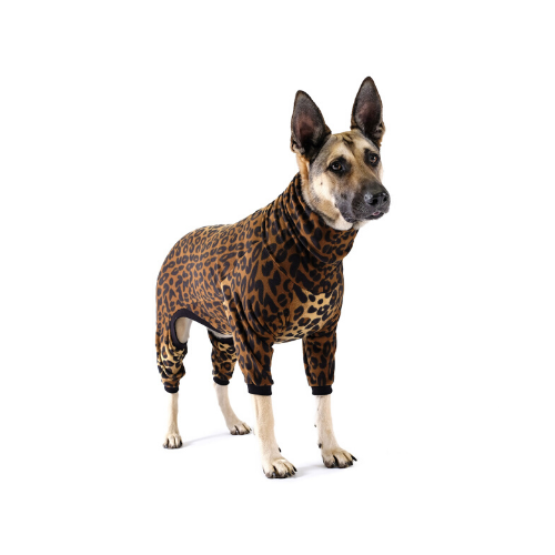 Gold Paw Series Stretch Fleece Onesie Dog Clothing — Leopard