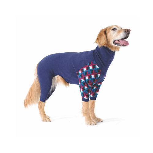Gold Paw Series Stretch Fleece Onesie Dog Clothing — Navy Winter Mod